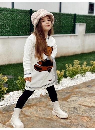 Hilal Akıncı Kids Kiz Çocuk Ayicikli Trıko Elbıse Beyaz
